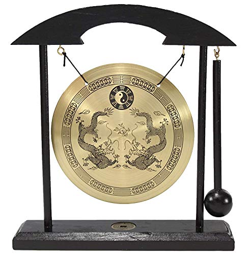 Zen Table Gong Dragon with Taiji Symbols Feng Shui Meditation Desk Bell Home Decor Housewarming Congratulatory Blessing Gift US Seller