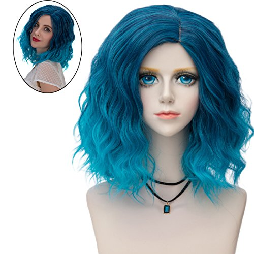 Pastel Teal Blue Ombre wig. Beach wave hairstyle Party Wig -
