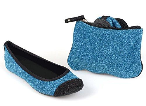 Sidekicks Dames Opvouwbare Ballet Flats Met Draagtas Blauwe Glitter