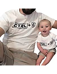 Baby Kids Boys Short Sleeve Family Clothes Letter T-shirt Blouse
