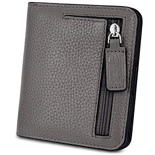 YALUXE Women's RFID Blocking Small Compact Leather Wallet Ladies Mini Purse with ID Window Gray RFID