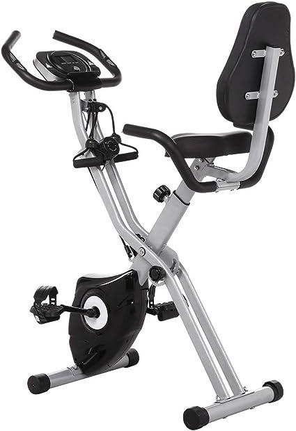 Profun Bicicleta Estática Plegable de Fitness con Respaldo Xbike con App Pantalla LCD 10-Niveles Ajustable para Ejercicio Entrenamiento en Casa