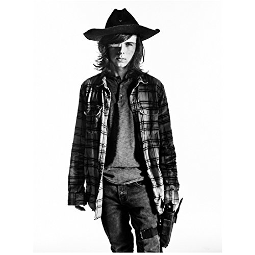 The Walking Dead (TV Series 2010 - ) 8 inch x10 inch Chandler Riggs in Plaid Shirt, Hat & Eye Patch White Background kn