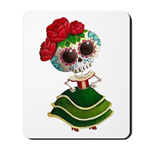 CafePress - El Dia De Los Muertos Skeleton Girl - Non-slip Rubber Mousepad, Gaming Mouse Pad (El Halloween En Mexico)