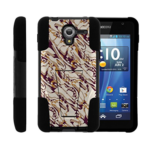 TurtleArmor | Kyocera Hydro View Case | Hydro Reach Case | Hydro Shore Case [Gel Max Cover] High Impact Proof Hard Kickstand Case Hard Combo Camouflage Design Set - Blended Mocha Camouflage