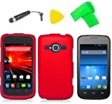 zte concord ii phone cases - Phone Case Cover Cell Phone Accessory + Extreme Band + Stylus Pen + LCD Screen Protector + Yellow Pry Tool for T-Mobile ZTE Concord 2 II Z730 (Red)