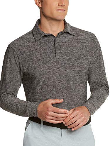 (Men's Dry Fit Long Sleeve Polo Golf Shirt, Moisture Wicking and 4 Way Stretch Black)
