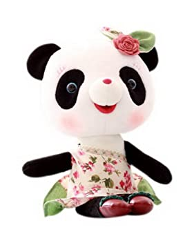 Muñeco de peluche Baby Girls Cute Panda Muñeco de peluche Vístase con una muñeca de flores