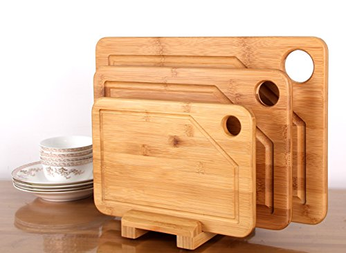 Premium Bamboo Cutting Board - 3 Set (Large, Medium and Small with the Holder) (Bamboo Cutting Boards 3 Pack)