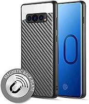 Luxmo Funda Case para Samsung S10 Protector Fibra de Carbono, Color Negro