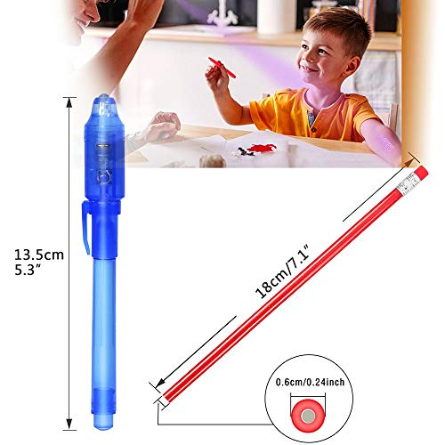 Flexible Bendy Pencils 2019 Upgraded Spy Pen with UV Light Magic Marker Goodies Bags Toy for Fun Kids Birthday Party Bag Fillers TAGVO Invisible Ink Pens