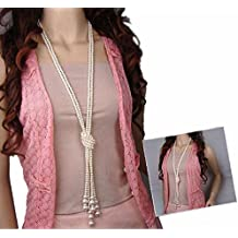 yueton Fashion Artificial Pearls Long Chain Charms Sweater Necklace Women Clothing Accessories Jewelry