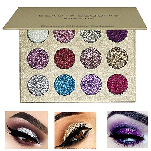 Beauty Sequins 12 Colors Pressed Glitter Eye shadow Palette Shimmer Ultra Pigmented Makeup Platte Powder Eye Shadow Powder Cosmetic for $<!--$6.88-->