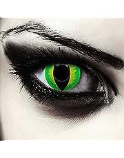 """Designlenzen, twee groene gekleurde kattenoog halloween carnaval kostuum contact lenzen zonder sterkte, gratis lenshouder""""Green Dragon"""""""
