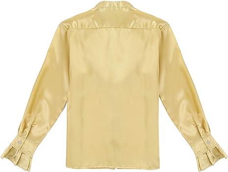 iixpin Camisa de Satén Hombre Blusa con Volantes Traje de Baile Latino Samba Rumba Top de Danza Color Liso Camiseta Vintage Ropa de Actuación Fiesta Dorado Medium: Amazon.es: Ropa y accesorios