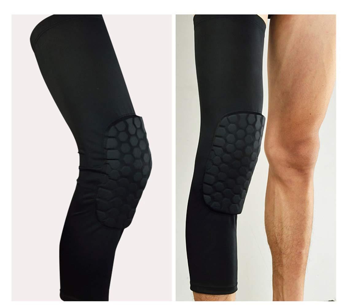 Honeycomb Knee Pad Basketball Crashproof Leg Long Sleeve Protector Gear Upgraded (Extra Large, Black)