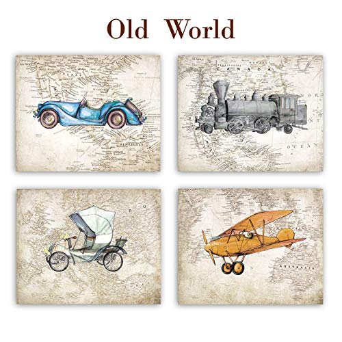 Vintage car airplane train World map decor Nursery prints