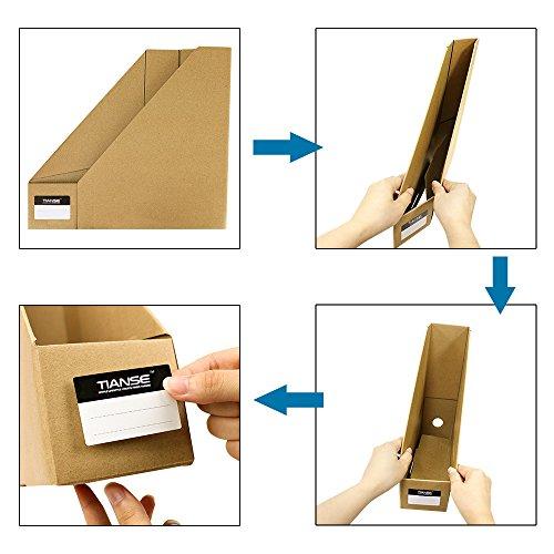 TIANSE File Magazine Holder, Desk Storage Organizer for Office Home, Kraft Paper(Pack of 3) Photo #6
