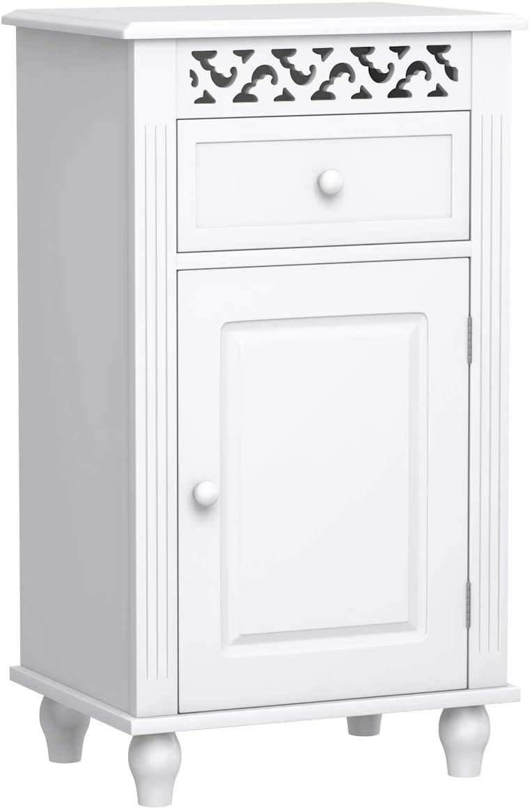 Giantex Storage Floor Cabinet W One Cabinet Two-Layer Adjustable Shelves One Drawer Wood Bathroom Cupboard Organizer Kitchen Collection Cabinet Shelf Nightstand Beside End Table White 1 Drawer