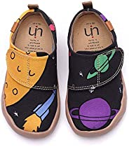 UIN Toddler Baby Little Kid Sneaker Universe Painted Art Canvas Adjustable Strap Casual Fashional Shoes