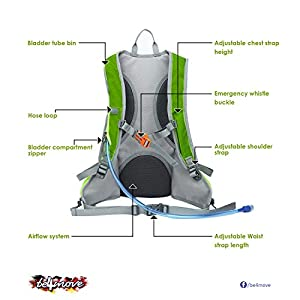 be4move 15L hydration backpack with 2L Water Bladder Running Cycling Skiing, Climbing pack (green)