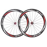 WIEL Full Carbon Fiber Bike Wheel Sets & Road Bicycle Wheel 700C 50mm Tubular Wheels R50-T Frosting Red & White