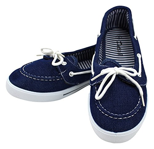 Enimay Women's Original Style Slip-On Casual Canvas Boat Shoe Loafer Flats Denim 6