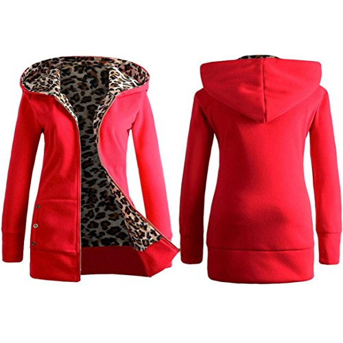 Femme Capuche Pardessus Fermeture clair pais Sweat Manteau Outwear Lopard Velours Rouge Malloom tAw77