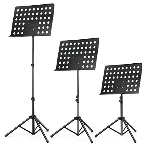 3-Pack MMS-2 Metal Adjustable Sheet Music Stand Portable With Music Stand Light Carrying Bag Black by Moukey (Image #1)