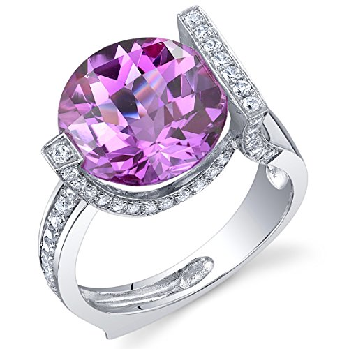 7.00 Carats Created Pink Sapphire Artistic Ring Sterling Silver Checkerboard Cut Sizes 5 to 9