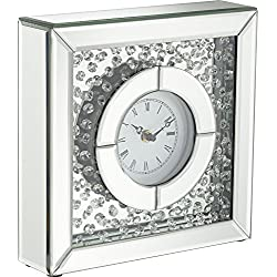 Claudyn Glass Mirror Crystal 10 High Square Tabletop Clock