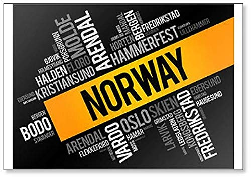 List of Cities and Towns in Norway, Word Cloud Collage Illustration Fridge Magnet (List Of States And Capitals By Region)