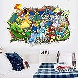 Stycars, Wall Stickers, 3D Cartoon Pokemon Elf Pikachu Decals s Mural Art Home Household Children Bedroom Birthday gi [Small]