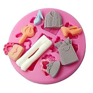 Four c 3d molde dama ropa molde de silicona color rosa - Moldes silicona amazon ...