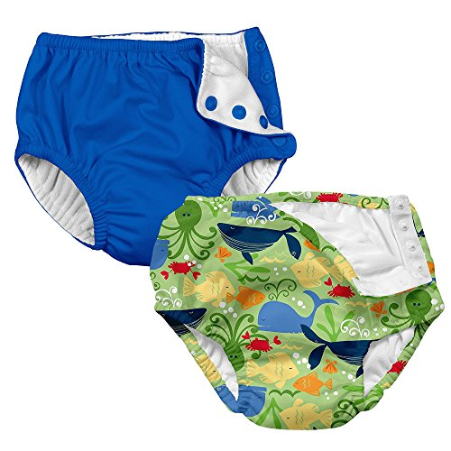 i play. 2-PK Absorbent Boys Reusable Baby Swim Diapers Sealife and Royal Blue 12M