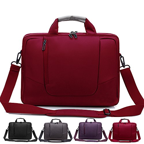 Foam Notebook Kits (Laptop Crossbody Messenger Bag, Soft Nylon, Foam Padded Briefcase, Removable Shoulder Strap - For 17.3 Inch Notebooks, Red - By Rawboe)