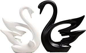 PeggyHD Swan Lover Figurines Ceramic Animal Statue Couple Swan Sculptures Home Decor Craft Ornament Wedding Gifts Set of 2