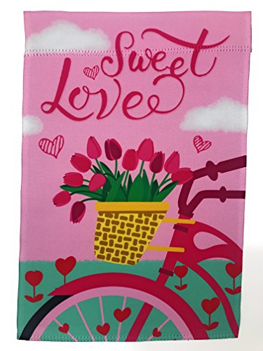 Lantern Hill Valentines Day Sweet Love Bike with Tulips Garden Flag; 12 inches by 18 inches; Double Sided Reads Correctly Both Sides
