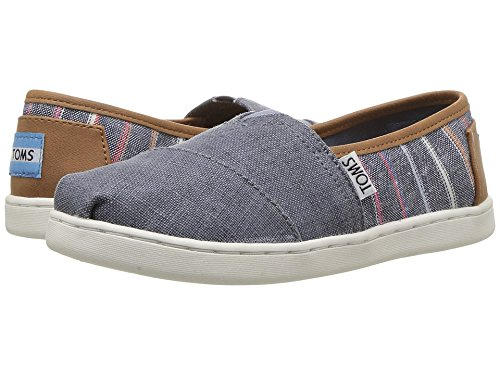 TOMS Kids Unisex Seasonal Classics (Little Kid/Big Kid) Navy Multi Stripe/Pu Loafer