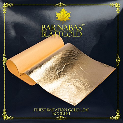 Imitation Gold Leaf Sheets - by Barnabas Blattgold - 25 Sheets - 5.5 inches Booklet - Loose - Imitation Gold Leaf