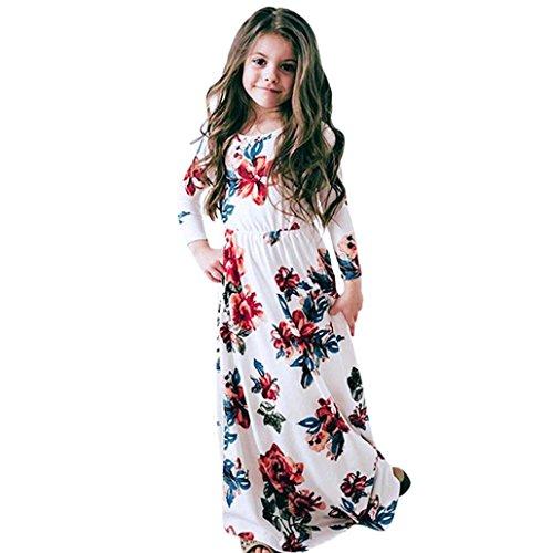 Skirt Blend Long - PENATE Baby Girl Fashion Flower Print Princess Party Dress Long Skirt Dance Robe (White, 6T)