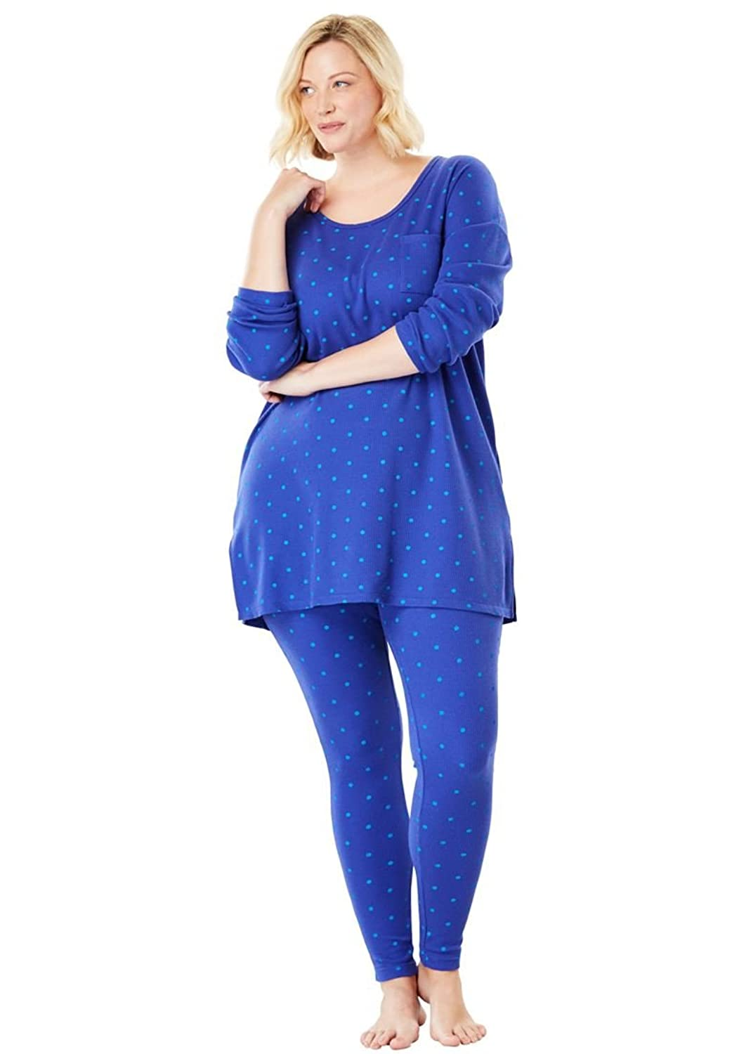 Dreams & Co. Women's Plus Size Supersoft Thermal Legging Pj Set