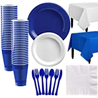 Party City Royal Blue and White Plastic Tableware Kit for 50 Guests, 487 Pieces, Includes Plates, Napkins, and Utensils
