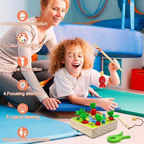Angela&Alex Montessori Carrot Toys, Kids Wooden Carrots Harvest Shape & Sizes Sorting Magnetic Fishing Games Children's Education Learning Gifts Developing Fine Motor Skill for Boys Girls