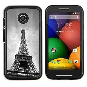 For Motorola Moto E Case , Arquitectura B & W Torre Eiffel desde abajo- Diseño Patrón Teléfono Caso Cubierta Case Bumper Duro Protección Case Cover Funda