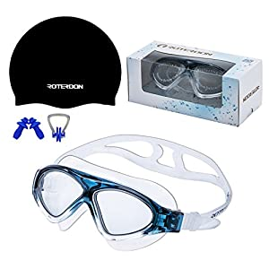 Swimming Goggles Vista Roterdon Adults Swim Equipments|Antifog Mirrored And UV Protection Water Proof Kids Boys Girls Goggles from Amazon Online Store|Free Swim Cap + Nose Clip + Ear Plugs(Black)