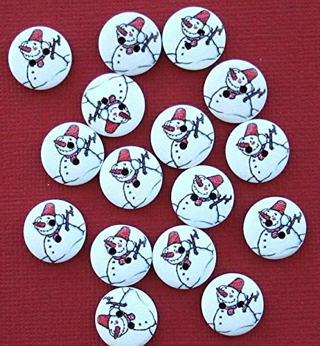 (20 Snowman Buttons Painted Wood Just Adorable with Carrot Nose 15mm BUT237)