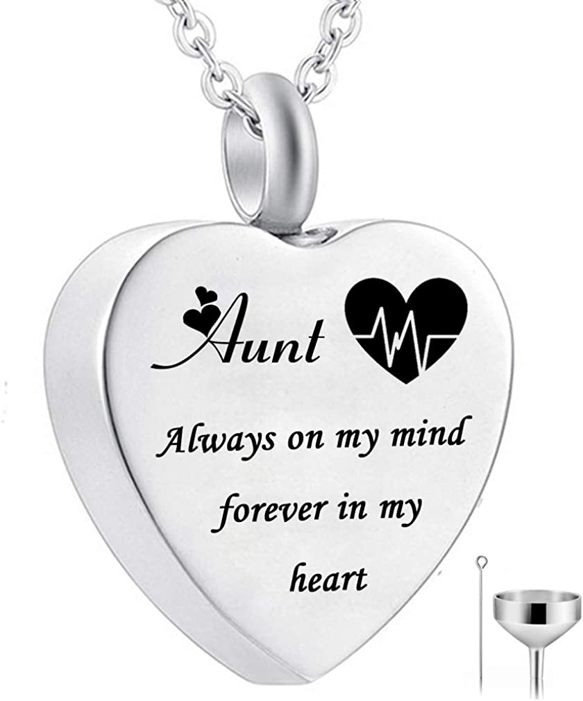 Heart Urn Necklace for Ashes Always on My Mind Forever in My Heart Cremation Jewelry Memorial Ashes Keepsake Pendant Electrocardiogram Jewelry