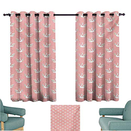 DONEECKL Sliding Curtains Swan Hand Drawn Style White Birds on Coral Backdrop with Patterned Wings and Little Hearts Blackout Draperies for Bedroom Living Room W55 xL39 Multicolor ()