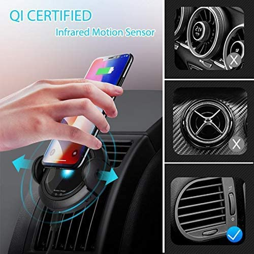 Samsung 10//S9//S8//Note 10 DINTO Wireless Car Charger Including QC3.0 Adapter 15W Automatic Clamping Qi Fast Wireless Charging Windshield Dashboard Mount Air Vent Phone Holder for iPhone 11//X//8//XS
